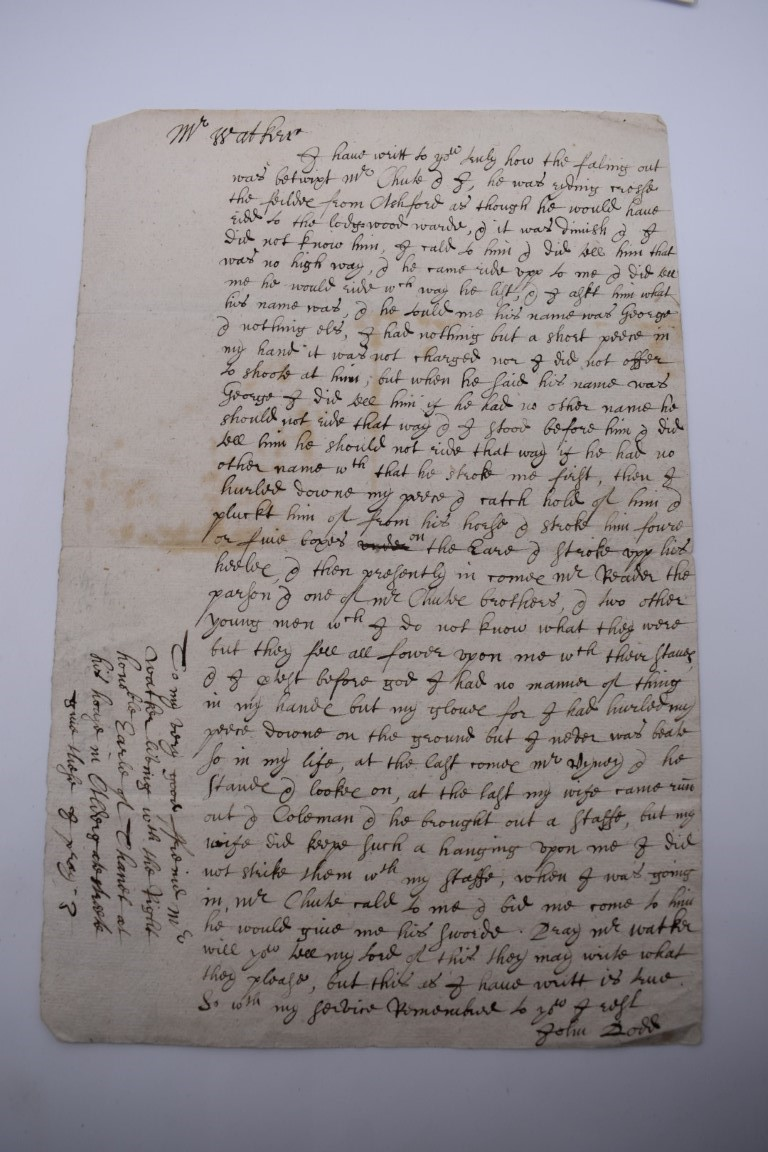 MANUSCRIPT DOCUMENTS, 17TH & 18THC:a group of 6, to include 34 line witness account of an assault - Image 2 of 11