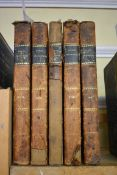 PENNY MAGAZINE:collection of 5 vols for years 1832, 34, 35, 36 & 37, contemp half calf, worn and