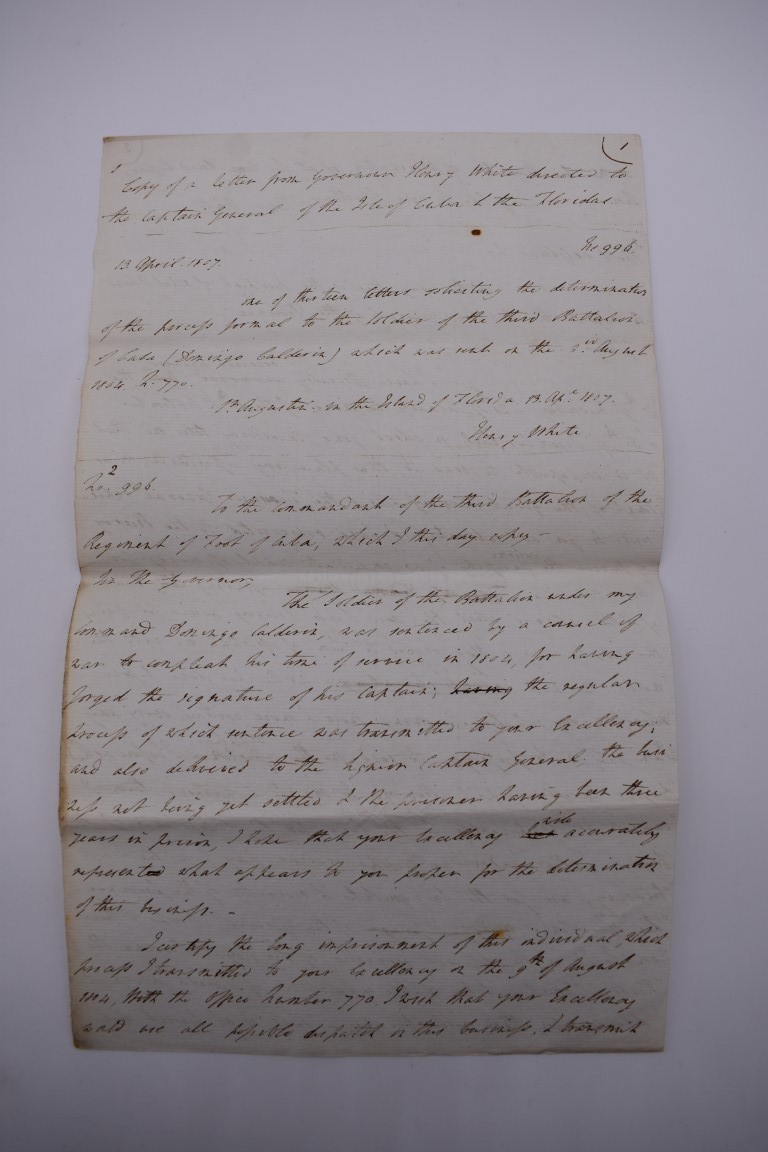 CUBA:contemporary manuscript translation of letter from Governor Henry White of Florida to - Image 7 of 10