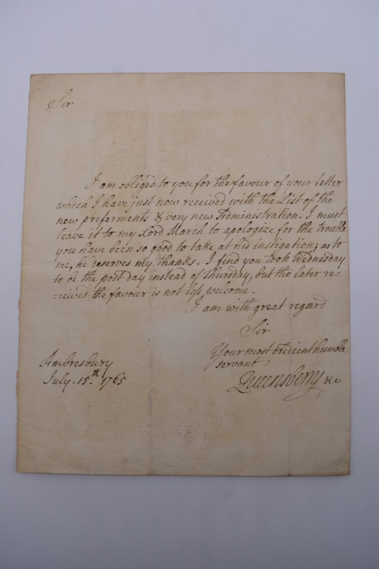 18TH CENTURY LETTERS:a group of 7 autograph letters signed, all English 18th century, to include - Image 6 of 14