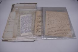 LETTERS, 18TH-19THC:collection of approx 13 items, to include 3 side ALS from the Earl of