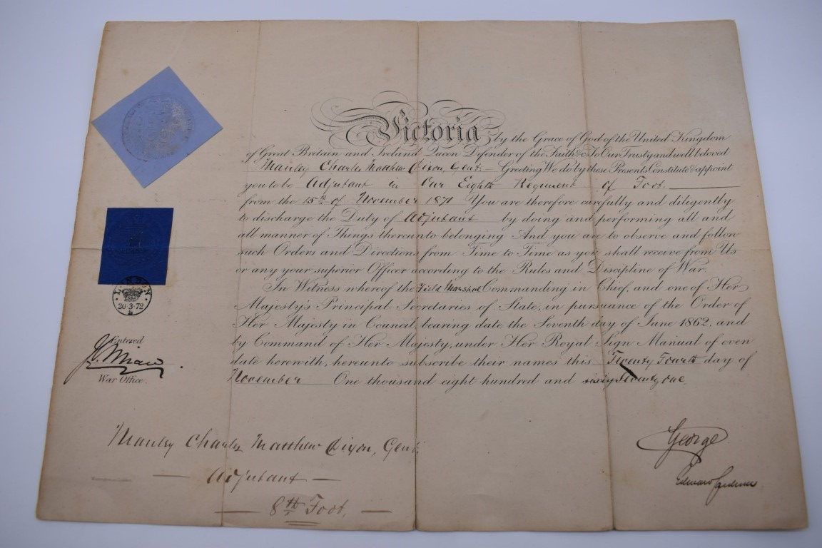 NORTHUMBERLAND MILITIA:commission for Peter Paxton, 10 January 1813 as Lieutenant in the Southern - Image 5 of 9
