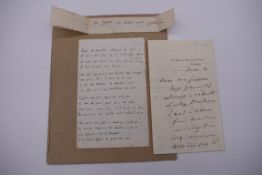 TAYLOR (Tom, 1817-1880):4 side ALS from Tom Taylor to Mrs Gaskell, printed heading for General