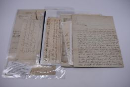 MANUSCRIPTS:collection of approx 15 items, 17th-early 19thc manuscripts, to include 2pp letter