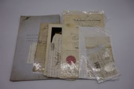 DOCUMENTS AND EPHEMERA:collection of approx 11 items, to include: 1840 letter entire from a young