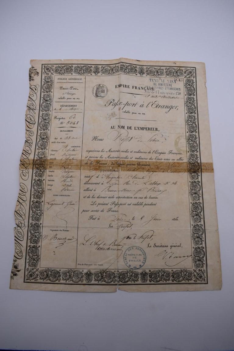 PASSPORT:French Empire passport allowing Victor Bouchard of Paris free passage, 8 June 1860, - Image 5 of 17