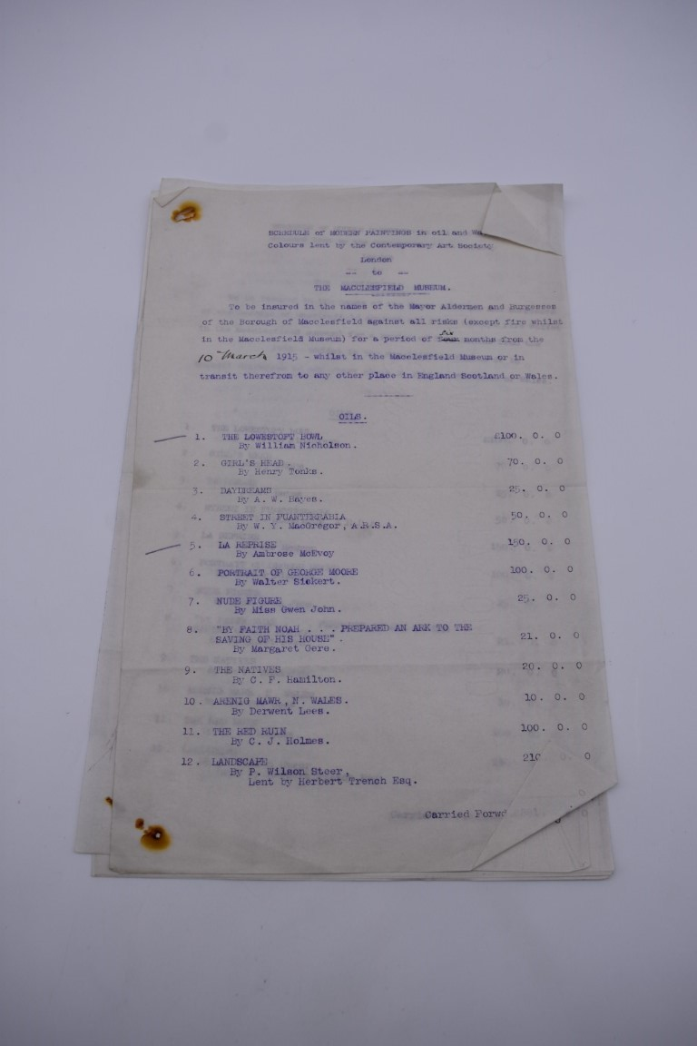 PRINTED AND MANUSCRIPT EPHEMERA:a bundle, to include typescript valuations of pictures in the - Image 16 of 28