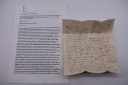 LETTER ENTIRE: KENNAWAY (Charles Edward, Rev):a lively and extensive letter from Kennaway to his