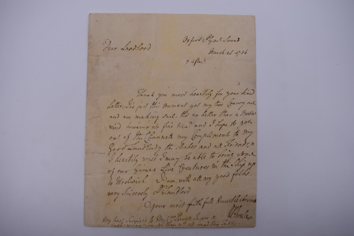 'UNDER SAILE FOR GUINEA': entire letter from Captain William Swale to John Russell, clerk of the