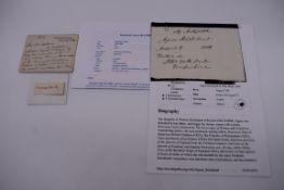 THOMAS HARDY:cut signature of same, tipped onto card: together with 8 line autograph note from Anna