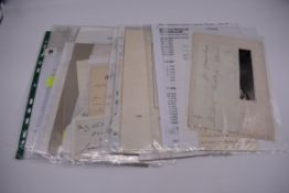 LETTERS AND AUTOGRAPHS, 19THC:collection of approx 33 ALS and cut autographs, largely 19th century