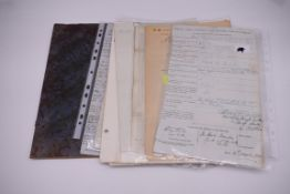 NAVAL AND MILITARY DOCUMENTS:group of 8 manuscript documents, to include printed form with