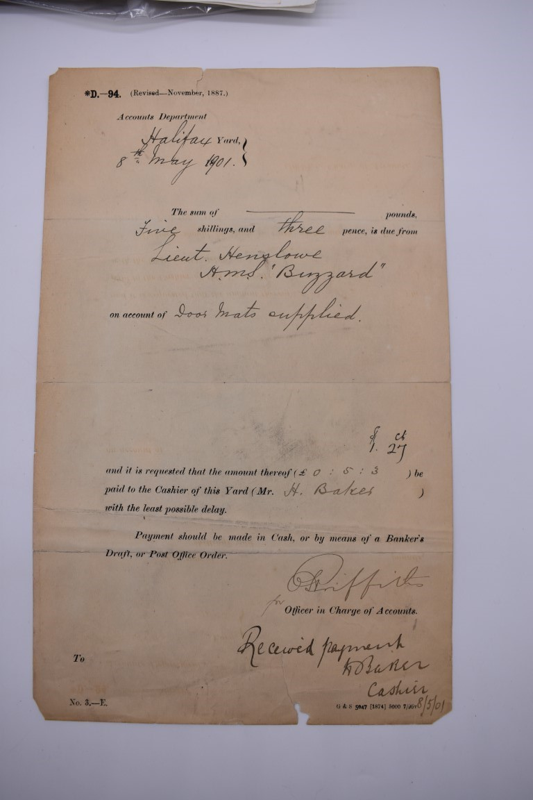 NAVAL AND MILITARY DOCUMENTS:group of 8 manuscript documents, to include printed form with - Image 4 of 21