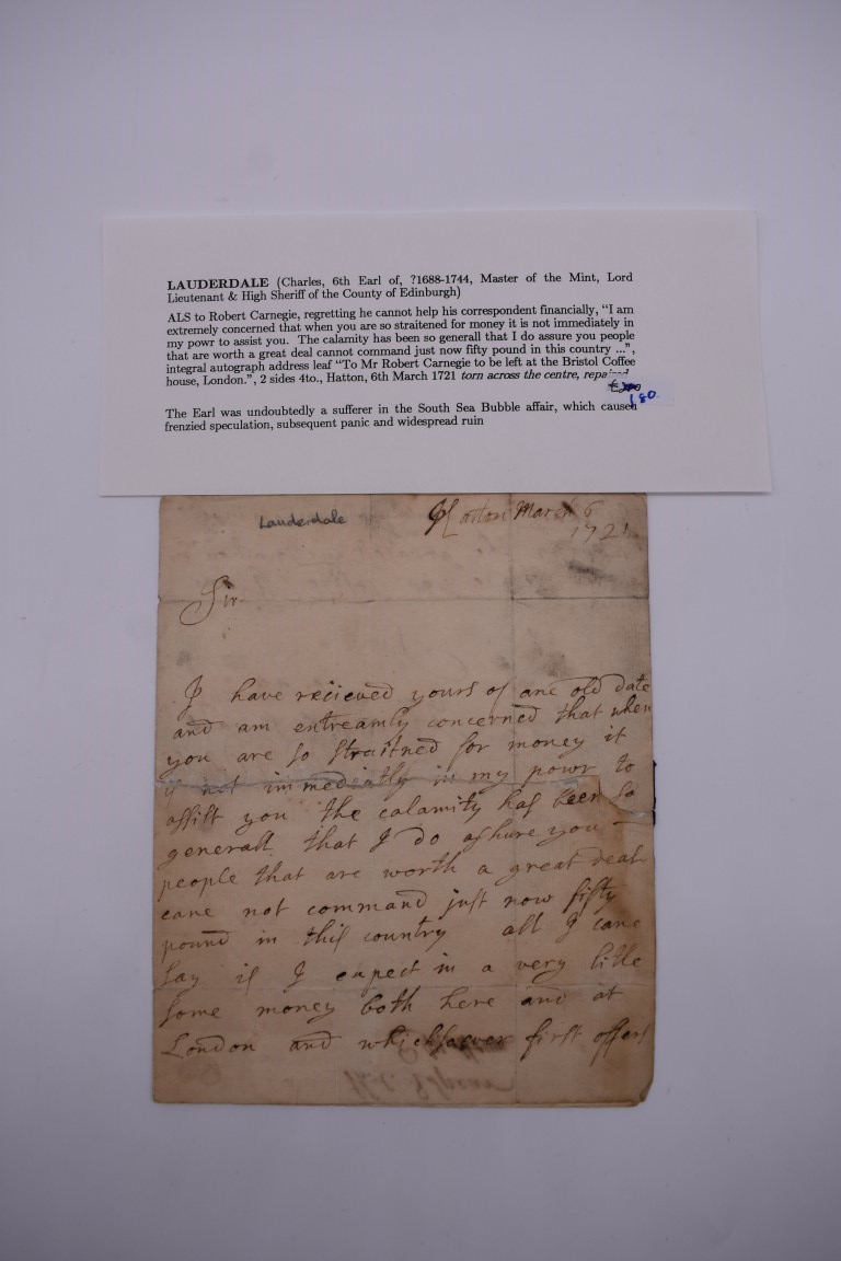 SOUTH SEA BUBBLE: LAUDERDALE (Charles, 6th Earl, ?1688-1744): entire letter to Robert Carnegie,
