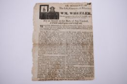 ASSAULT: 'An account of the life, character, & behaviour of Wm. Wheeler, who was executed at
