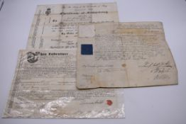 MARITIME DOCUMENTS:a group of 3, to include a naval commission ?1842: Merchant Seaman Apprentice
