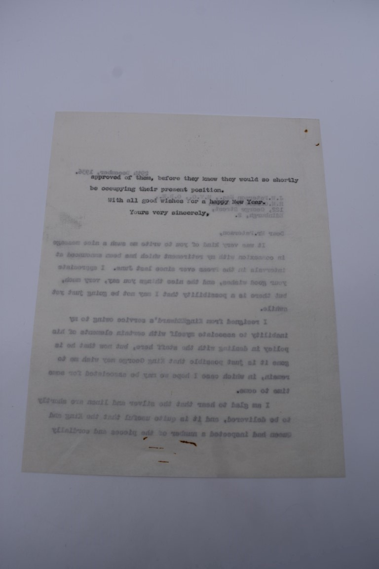 HARWOOD (Sir Ralph Endersby, 1883-1952):a small collection of typed and handwritten letters and - Image 5 of 9