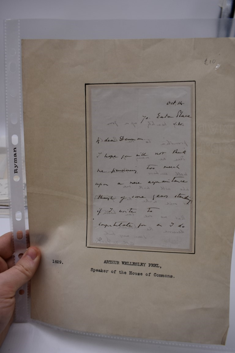 LETTERS AND AUTOGRAPHS, 19THC:collection of approx 33 ALS and cut autographs, largely 19th century - Image 5 of 46