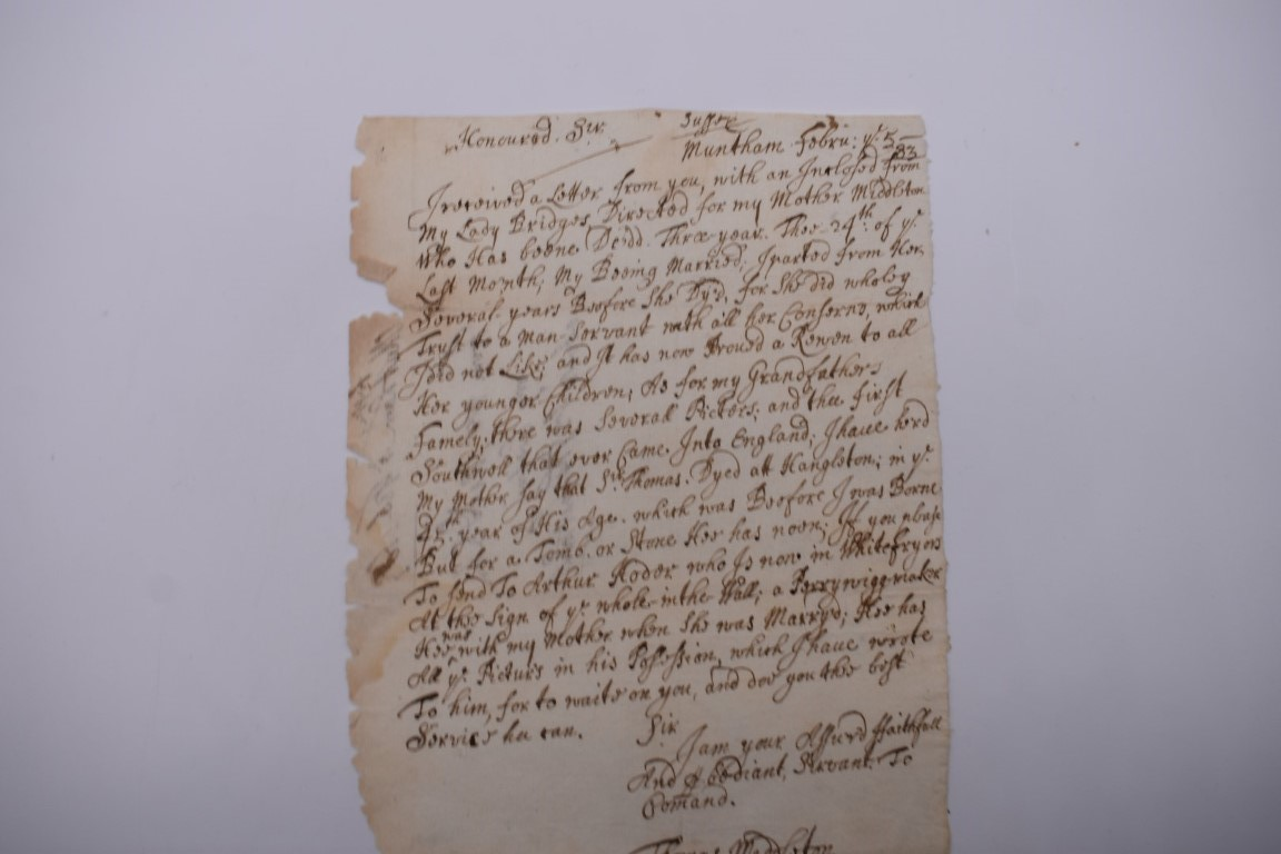 MANUSCRIPTS, ENGLISH, 17TH & 18TH CENTURY:a group of 8 items, to include letter entire from John - Image 4 of 10