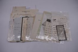 19TH CENTURY LETTERS & MANUSCRIPT:collection of approx 35 items, 19th century and a few later,