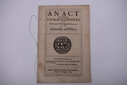 MARITIME ACT, ENGLISH COMMONWEALTH: 'An Act for Constituting Commissioners for Ordering and Managing