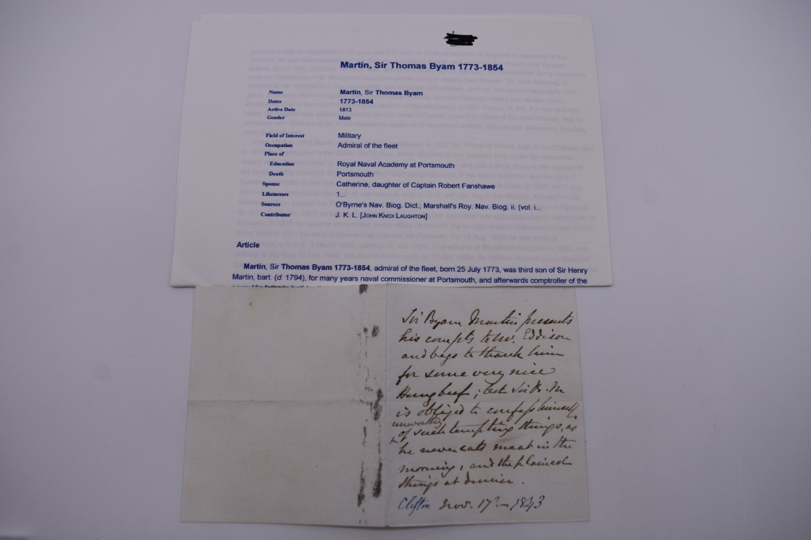 LETTERS AND AUTOGRAPHS, NAVAL AND MILITARY:collection of approx 30 items, late 18th-early 20thc, to - Image 5 of 51