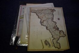 MAPS:collection of 11 miscellaneous maps, 17th-19th century, to include hand-coloured map of