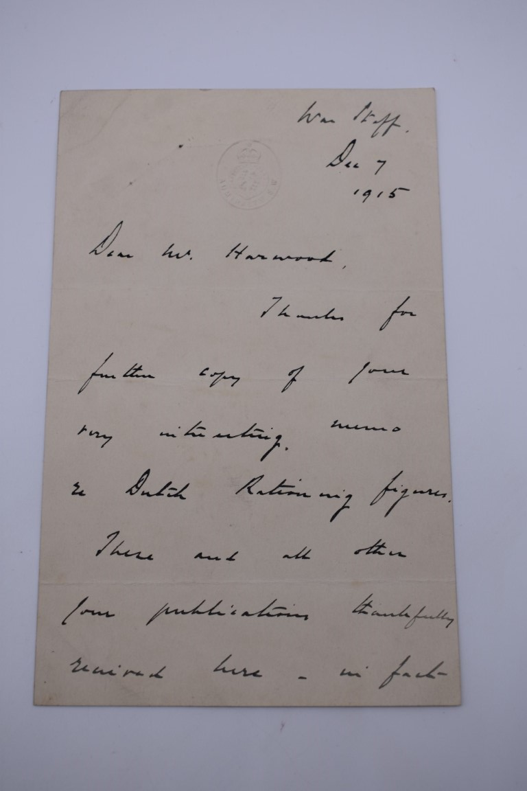 HARWOOD (Sir Ralph Endersby, 1883-1952):a small collection of typed and handwritten letters and - Image 2 of 9