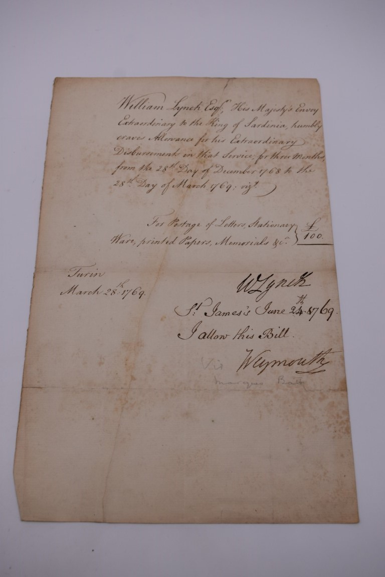 DOCUMENTS, LETTERS AND AUTOGRAPHS: collection of 5 items, to include: Approval of Disbursements of - Image 2 of 8