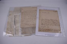 MANUSCRIPTS, 17TH-18TH CENTURY:group of 6 items, to include letter entire dated 25.7.1714,