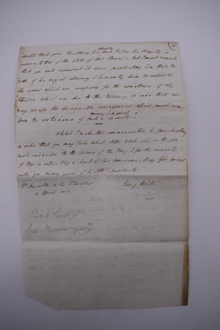 CUBA:contemporary manuscript translation of letter from Governor Henry White of Florida to - Image 10 of 10