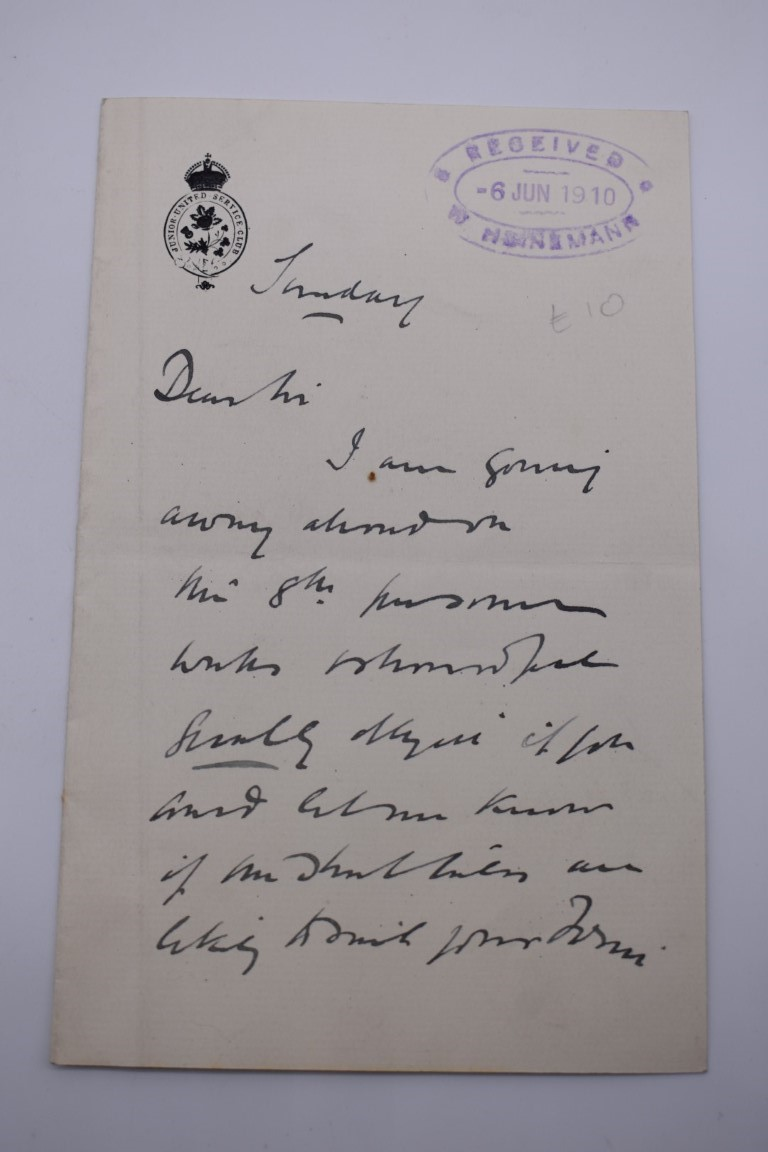 LETTERS AND AUTOGRAPHS, NAVAL AND MILITARY:collection of approx 30 items, late 18th-early 20thc, to - Image 26 of 51