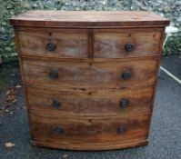 A Georgian mahogany bowfront chest of drawers, 103cm wide x 51cm deep x 105cm high.Payment must be