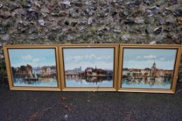 A set of three oils of continental scenes, by Andre Grass.Payment must be made in advance of