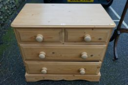 A small pine chest of drawers, 81cm wide x 72cm high.Payment must be made in advance of collection