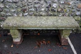An old reconstituted stone bench,140cm wide x 40cm deep x 54cm high.Payment must be made in advance