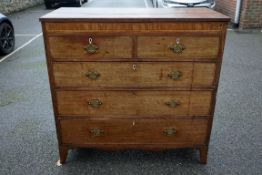 A Georgian mahogany chest of drawers, 117cm wide x 52cm deep x 113.5cm high.Payment must be made