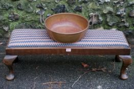 A long mahogany footstool; together with a copper preserving.Payment must be made in advance of