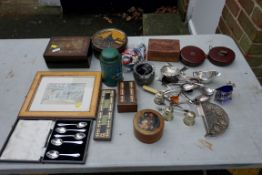 A mixed lot, to include: watches; silverplate; an old tape measures and boxes.Payment must be made