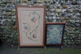 Two old firescreens, 115cm and 75.5cm high.Payment must be made in advance of collection which is
