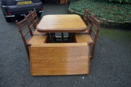 An antique French mahogany table; together with six cane seated dining chairs.Payment must be made
