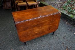 A circa 1800 mahogany drop leaf table, 144cm when open x 71cm high.Payment must be made in advance