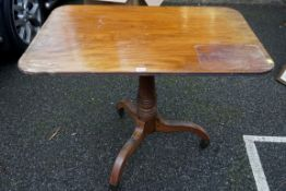A George IV mahogany breakfast table, 92.5cm wide x 65.5cm deep.Payment must be made in advance of