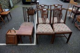 A set of four antique mahogany dining chairs; together with a cane seated chair, small table and a