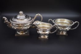 A good George IV silver three piece tea set, by JE Terrey & Co, London 1821, each heavily chased