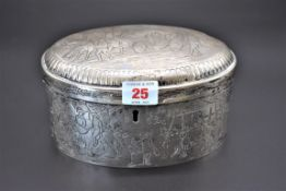 A 19th century German 13 loth oval lidded box, stamped '13' and 'MR', decorated coaching scene to