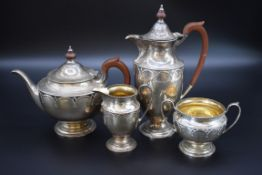 A silver four piece tea set, by Mappin & Webb, Sheffield 1927, 1477g all in.
