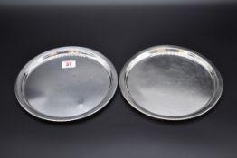 Two matching German .925 sterling silver waiters, byHermann Emil-Waldstetten, Baden-Württemberg,