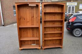 Two pine bookcases.Collection of this lot is strictly by appointment on Saturday 17th April