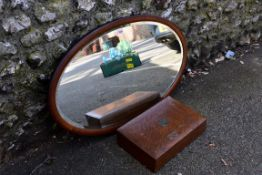 An oval inlaid mirror; together with an old cutlery box (lacking contents).Collection of this lot is